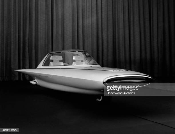 A Ford concept car the Gyron a futuristic two wheeled gyrocar Detroit Michigan 1961