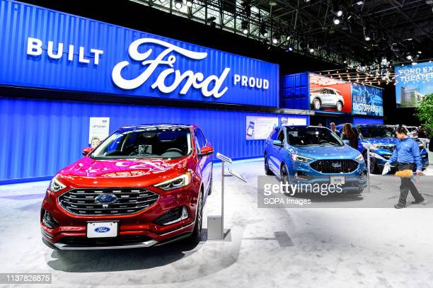 Ford display seen at the New York International Auto Show at the Jacob K Javits Convention Center in New York