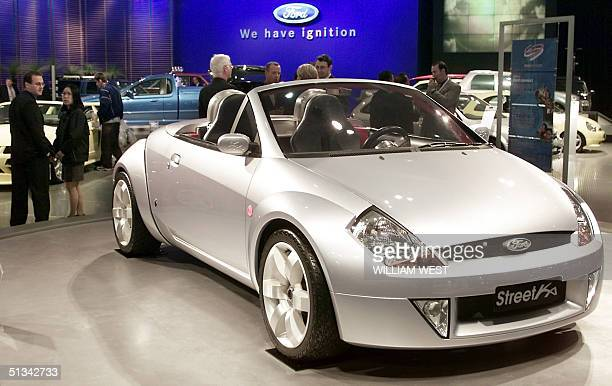 Ford display their new Ford StreetKa concept car during the press day at the Sydney Motor Show in Sydney 11 October 2001 The twoseater roadster which...