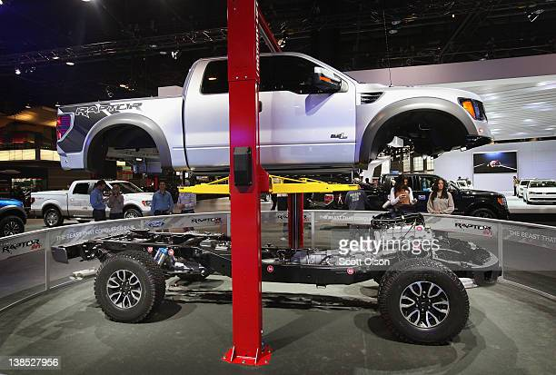 Ford displays the drive train of the F150 Raptor SVT truck during the media preview of the Chicago Auto Show at McCormick Place on February 8 2012 in...