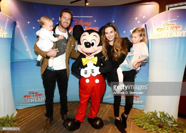 Ford Douglas Armand Hammer, Armie Hammer, Mickey Mouse, Elizabeth Chambers and Harper Hammer attend Disney On Ice: Follow Your Heart at Staples...