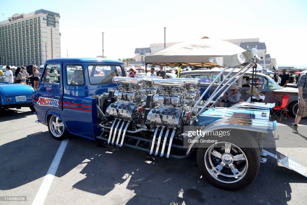Viva Las Vegas Car Show 2020.Ford Econoline Truck With 4 Engines Is Displayed During The