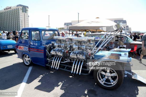 Ford Econoline truck with 4 engines is displayed during the Viva Las Vegas Rockabilly Weekend's car show at the Orleans Arena on April 20 2019 in Las...
