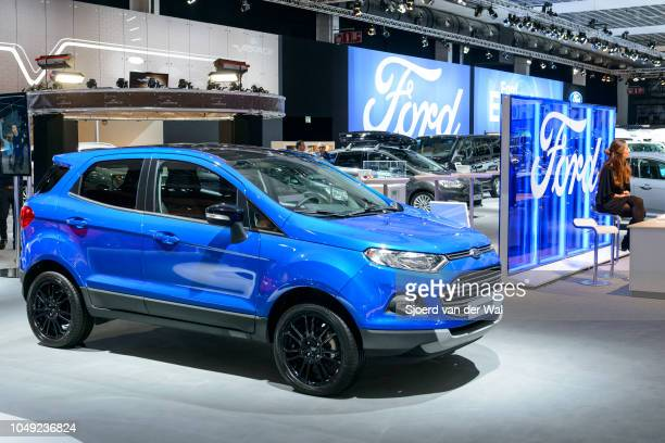 Ford Ecosport subcompact crossover luxury suv front view on display at Brussels Expo on January 13, 2017 in Brussels, Belgium. The Ford Ecosport is...