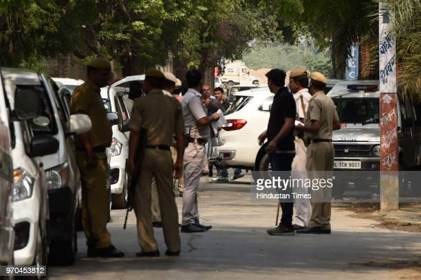 Ford Endeavour vehicle in which Rajesh Bharti was travelling when the encounter with Delhi Police broke out is seen at the site of encounter between...