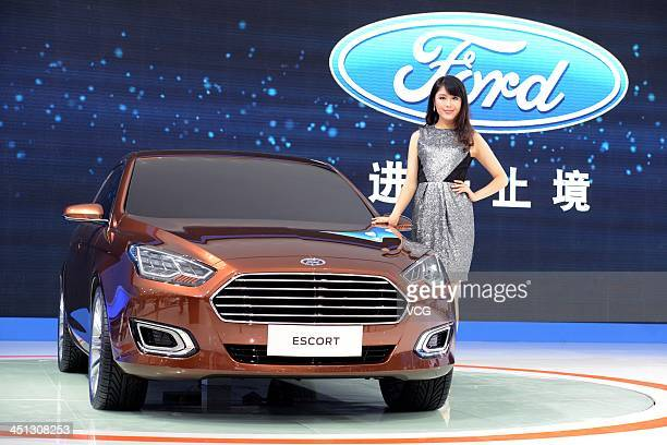 A Ford Escort car is on display during the 11th China International Automobile Exhibition at China Import and Export Fair Complex on November 21 2013...