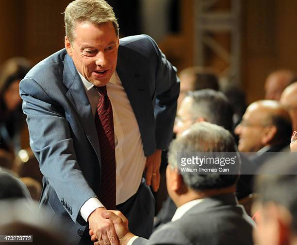 Ford Executive Chairman William Clay Ford Jr greets shareholders at the start of the Ford 60th Annual Meeting of Shareholders at the Hotel DuPont on...