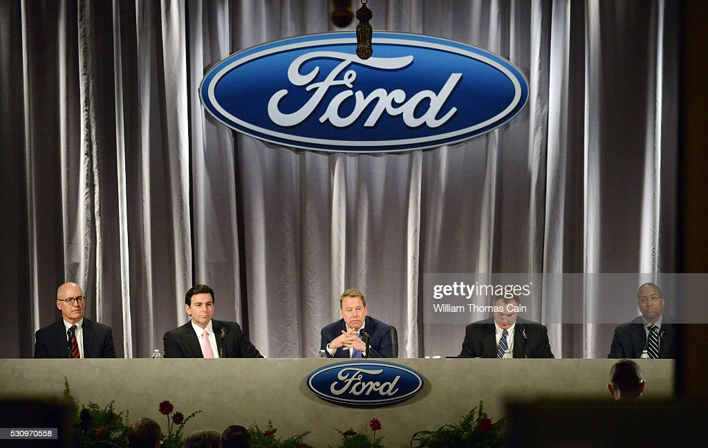 Ford Executive Vice President and CFO Robert L. Shanks, President and CEO Mark Fields, Executive Chairman William Clay Ford, Jr., Corporate Secretary John Osgood and Vice President and Assistant General Counsel Bradley M. Gayton meet with shareholders during the Ford 61st Annual Meeting of Shareholders at the Hotel DuPont on May 12, 2016 in Wilmington, Delaware. Shareholders rejected a proposal to alter the voting power, which is 40 percent, of the founding family of the company.