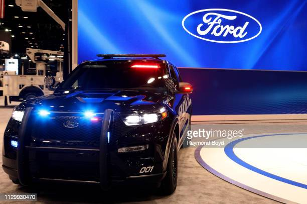Ford Explorer Police Interceptor is on display at the 111th Annual Chicago Auto Show at McCormick Place in Chicago Illinois on February 7 2019