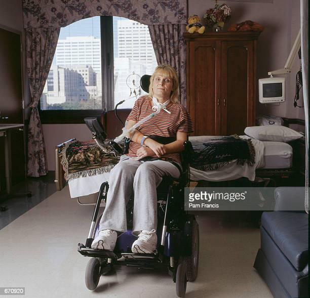 Ford Explorer/Firestone victim Donna Bailey is photographed at TIRR Lifebridge hospital January 4 2001 in Houston TX Bailey became a quadraplegic...
