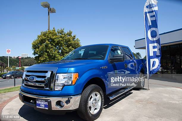 Ford F150 pickup parked on the lot at the Serramonte Ford dealership on April 26 2011 in Colma California Benefiting from strong demand for smaller...