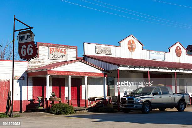 Ford F150 pickup truck at Huval's Grocery Store with Phillips 66 sign at Breaux Bridge by Atchafalaya Louisiana USA