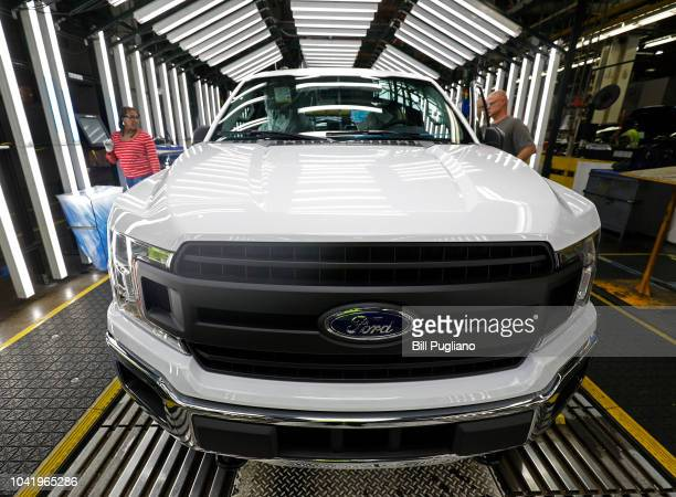 Ford F150 trucks go through the customer acceptance line at the Ford Dearborn Truck Plant on September 27, 2018 in Dearborn, Michigan. The Ford Rouge...