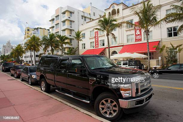 Ford F350 Super Duty SUV pickup truck in Ocean Drive Miami South Beach Florida USA