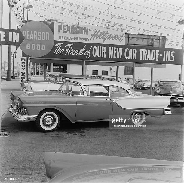 Ford Fairlane at Pearson Lincoln Mercury Used Car Lot on Hollywood Boulevard across the street from Trend Inc publishers of Hot Rod and Motor Trend...