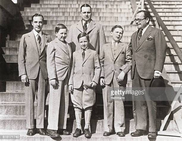 Ford Family Visitors at White House. Washington, DC: Edsel Ford, son of the famous automobile manufacturer and his two sons after their visit to the...