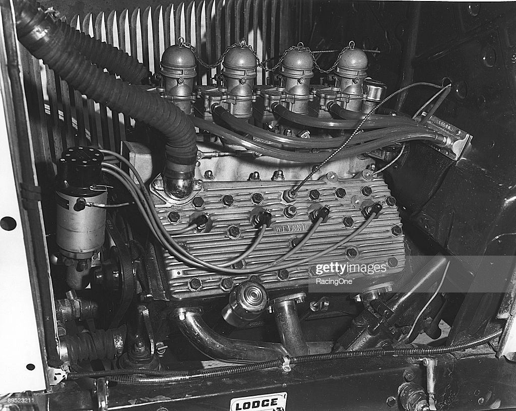 A Ford flathead V-8 with four Stromberg 97 carburetors