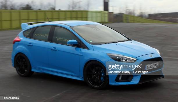 A Ford Focus RS at Stratford Waterfront in London displays its 'Buzz Moment' whereby some exterior lights illuminate in tune to the driver's emotions