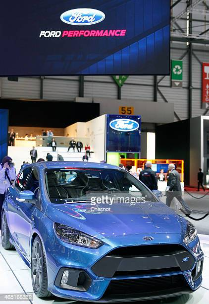 Ford Focus RS is presented during the press day for the 85th Geneva International Motor Show on March 3 2015 in Geneva Switzerland The International...