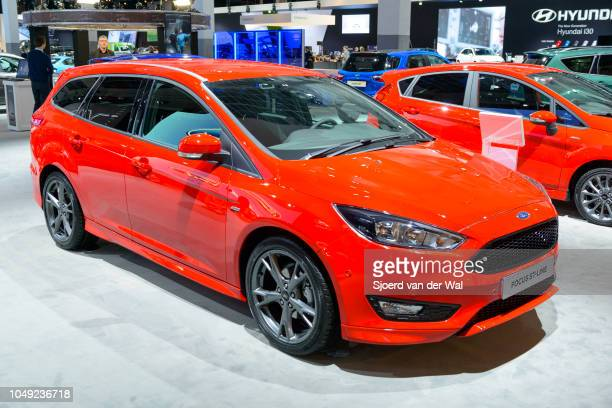 Ford Focus STline sporty family hatchback car front view on display at Brussels Expo on January 13 2017 in Brussels Belgium The Focus SR is fitted...