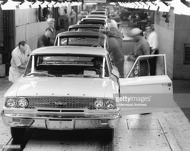 Ford Galaxie nears the end of the final assembly line at Ford Motor Company's Wayne Michigan 1963