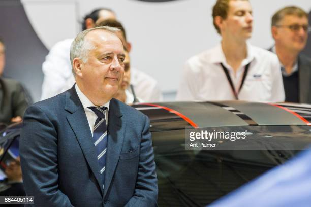 Ford Germany chief Gunnar Herrmann looks on as the new Mustang is unveiled for the first time at the Essen Motor Show on December 1 2017 in Essen...