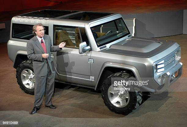 Ford Group Vice President of Design J Mays introduces the Ford Bronco Concept at the North American International Auto Show January 4 2004 in Detroit...