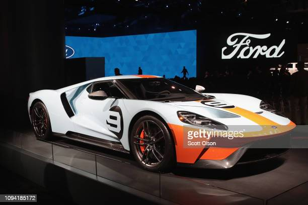 Ford GT is displayed at the North American International Auto Show at the Cobo Center on January 14, 2019 in Detroit, Michigan. The show is open to...