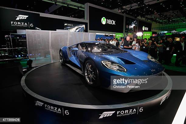 Ford GT is displayed in the Microsoft Corporation exhibit in promotion to 'Forza Motorsport 6' during the Annual Gaming Industry Conference E3 at the...