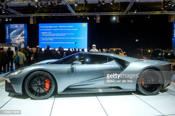 Ford GT mid-engined two-seater sports car on display at Brussels Expo on January 10, 2018 in Brussels, Belgium. The Ford GT is fitted with a 5.4 L...