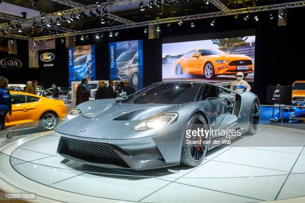 Ford GT midengined twoseater sports car on display at Brussels Expo on January 10 2018 in Brussels Belgium The Ford GT is fitted with a 54 L Ford...