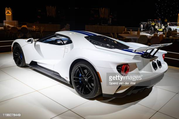 Ford GT sports car on display at Brussels Expo on January 8, 2020 in Brussels, Belgium. The Ford GT Supercar is fitted with a 3,5-liter EcoBoost...