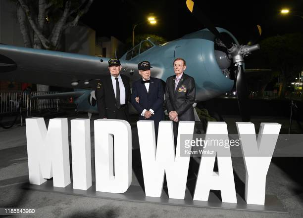TK Ford Hank Kudzik and Jack Holder pose at the premiere of Lionsgate's Midway at the Regency Village Theatre on November 05 2019 in Westwood...