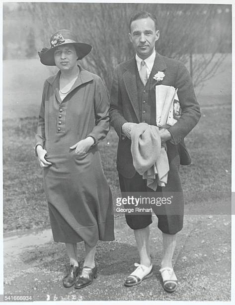 Ford Heir and Wife Vacationing in the South...Edsel B. Ford of Detroit and Mrs. Ford, out for a stroll at Hot Springs, Virginia, where they are...
