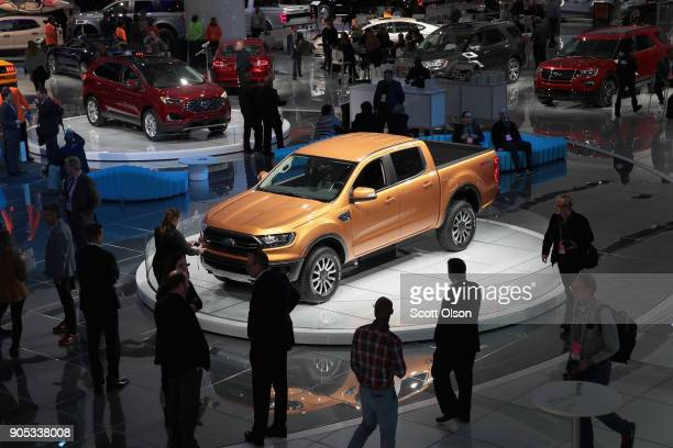 Ford introduces the 2019 Ranger midsize pickup truck at the North American International Auto Show on January 15 2018 in Detroit Michigan The show is...