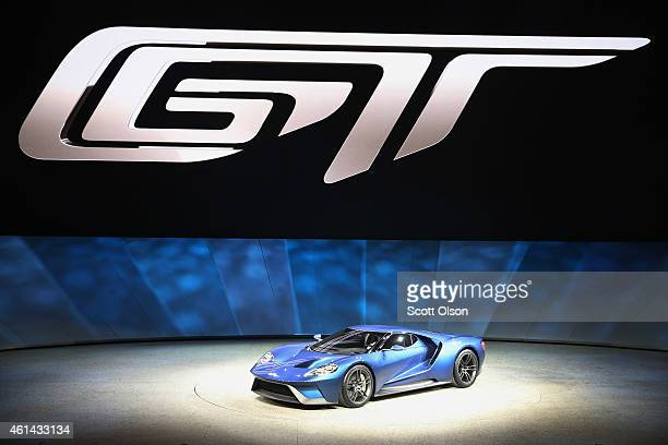 Ford introduces the new GT at the North American International Auto Show on January 12 2015 in Detroit Michigan More than 5000 journalists from...