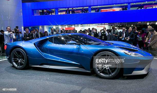 Ford introduces the new GT to the media at the 2015 North American International Auto Show at Cobo Center on January 12, 2015 in Detroit, Michigan.