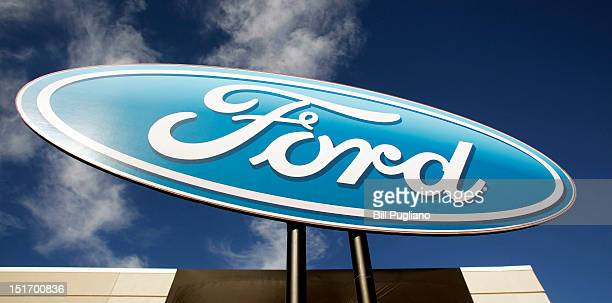 Ford logo is shown at an event that celebrates the opening of the new US production line where the 2013 Ford Fusion midsize sedan will be made at the...