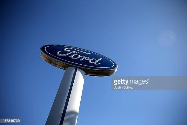 Ford logo sign stands in front of Serramonte Ford on May 1 2013 in Colma California Ford Motor Co reported a 18 percent surge in April sales that was...