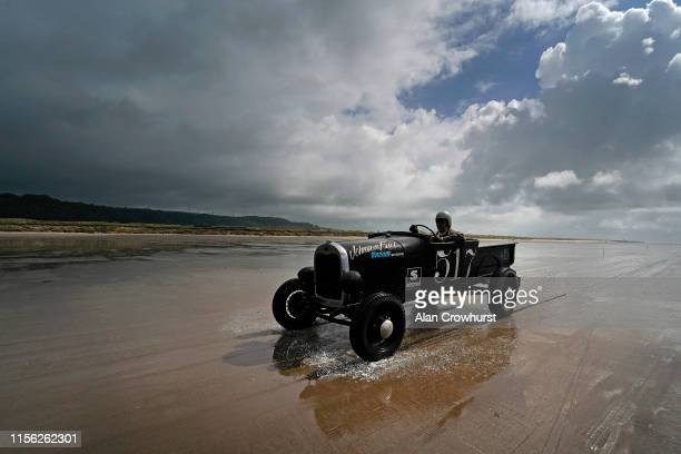 Ford Model A make its return to the pit area during the Vintage Hot Rod Racing on Pendine Sands on June 16 2019 in Carmarthen Wales