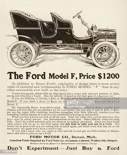 A Ford Model F automobile is shown in a magazine advertisement dated 1905 The car seats five people The ad says 'Don't ExperimentJust Buy a Ford'