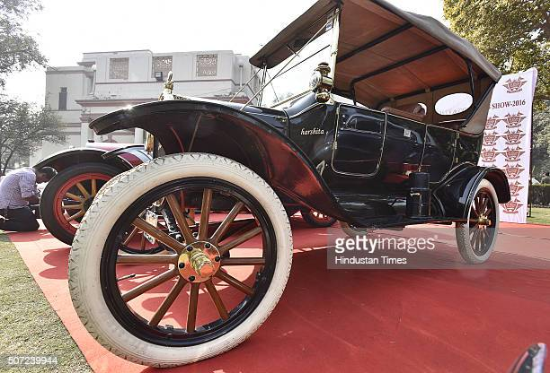 Ford Model T at display during a press preview of 21 Gun Salute Vintage Car Rally on January 28 2016 in New Delhi India
