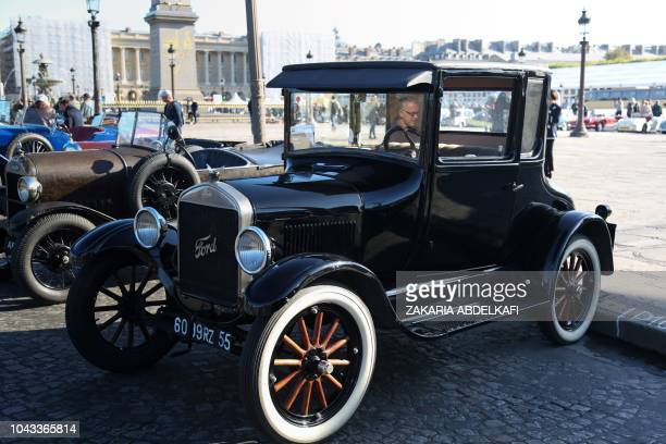 Ford model T coupe car is on display on September 30 2018 on the Place de la Concorde in Paris to mark the 120th anniversary of the Mondial de...