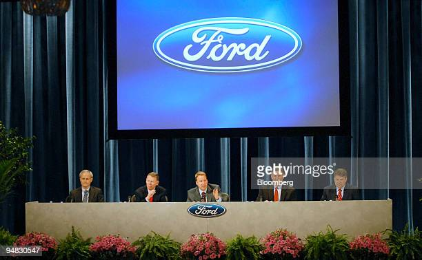 Ford Motor Co executives Don Leclair chief financial officer and executive vice president left Alan Mulally president and chief executive officer...