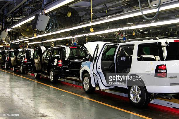 Ford Motor Co Explorer sport utility vehicles move along the production line at the company's Louisville Assembly Plant in Louisville Kentucky US on...