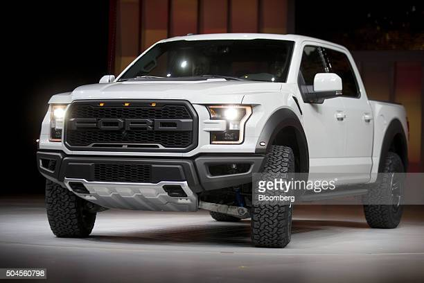 A Ford Motor Co F150 Raptor pick up truck is unveiled during the 2016 North American International Auto Show in Detroit Michigan US on Monday Jan 11...