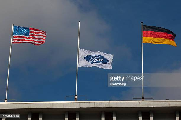 Ford Motor Co. Flag flies at half mast, center, following the recent death of Willliam Clay Ford, the last surviving grandchild of Ford founder Henry...