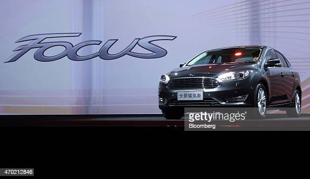 A Ford Motor Co Focus vehicle is displayed during a media event ahead of the 16th Shanghai International Automobile Industry Exhibition in Shanghai...