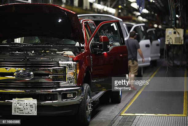 Ford Motor Co Super Duty Trucks move along the assembly line at the Ford Kentucky Truck Plant in Louisville Kentucky US on Friday Sept 30 2016 The...