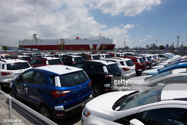 Ford Motor Co vehicles stand at the Nagoya Port in Nagoya Japan on Tuesday July 31 2018 Japan is scheduled to release trade balance figures for July...